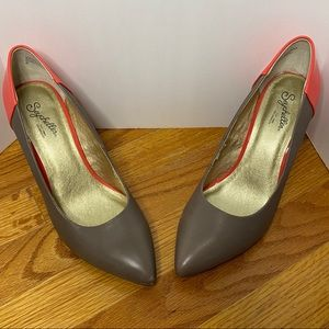Seychelles Dark Coral & Gray Color Block Heels  8